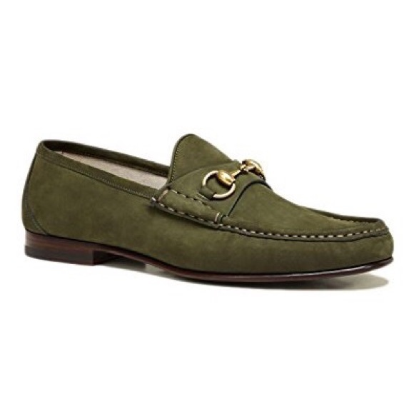 a4a5a113408 NEW Gucci 1953 olive suede horsebit loafers